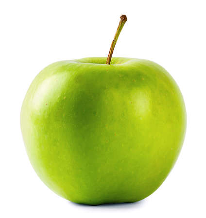 Round green apple with handle isolated on white background