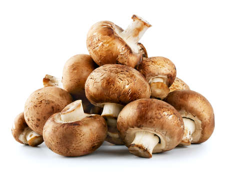 isolated on the white background: Pile of raw mushrooms isolated on white background