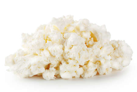 crumbly: Fresh crumbly cheese isolated on white background Stock Photo