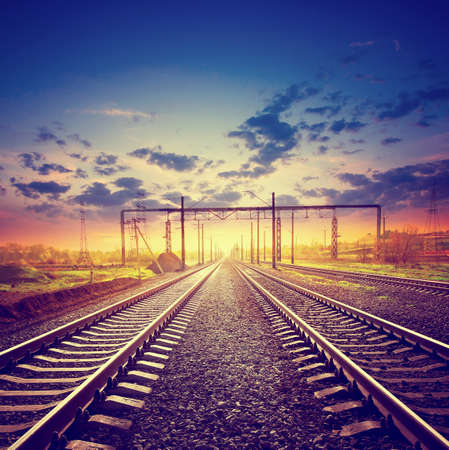 vanish: Landscape with the railroad under dramatic sky Stock Photo
