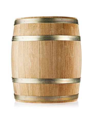 Wooden round oak barrel isolated on white background 版權商用圖片