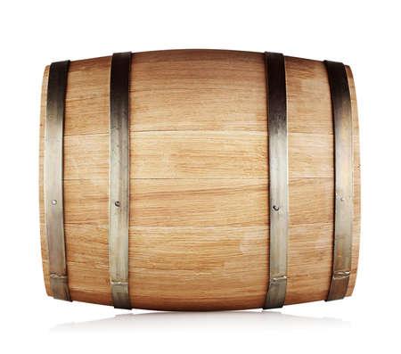 Round oak barrel isolated on white background