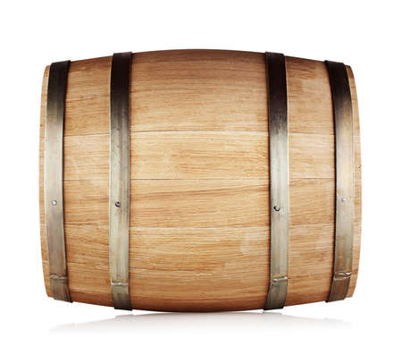 Round oak barrel isolated on white background