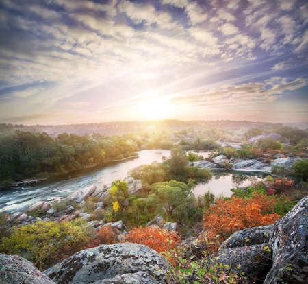 rifts: Landscape with a mountain river flowing among the rocks under the night sky