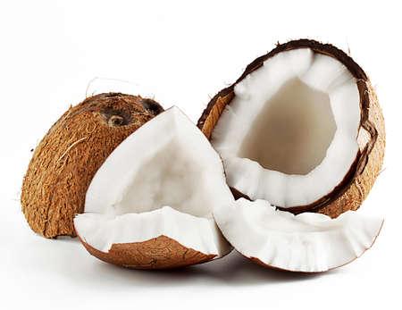 고기의: 흰색 배경에 고립 좌절 고기 코코넛