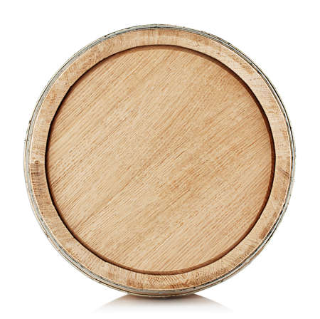 cork wood: The top of a wooden barrel isolated on white background Stock Photo