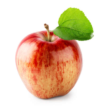 Red juicy apple with green leaf isolated on white background Standard-Bild