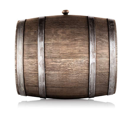 barrel: Wooden barrel lying on its side isolated on a white background