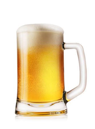 Mug light foamy beer isolated on white background 版權商用圖片