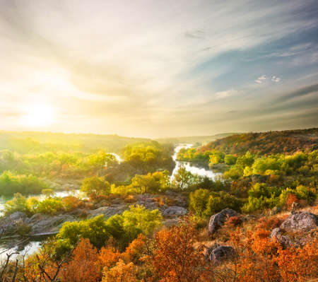 rifts: Autumn Landscape with mountain river among the trees Stock Photo