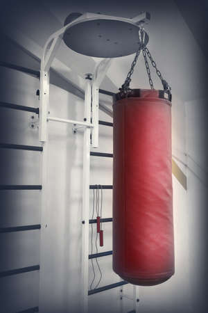 sandbag: Red leather punching bag on a chain in gym