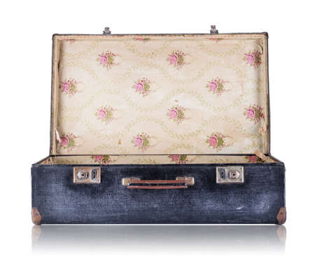 Open black vintage suitcase isolated on white background