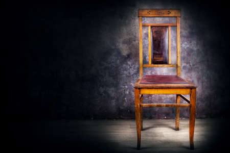 antique chair: Antique chair with back on grange background
