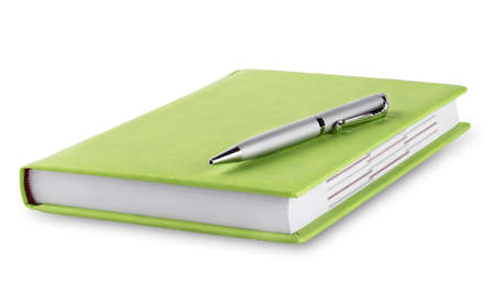 diary cover: Green diary with pen isolated on white background Stock Photo
