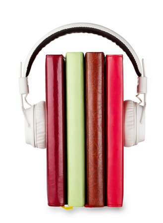 zeichnung: Concept of audio books on the subject with headphones and number of books