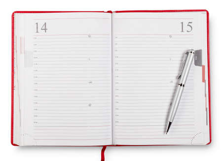 open diary: Red open diary with pen isolated on white background