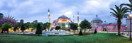 aya sofia: Hagia Sophia Mosque in Istanbul. Panorama. Stock Photo