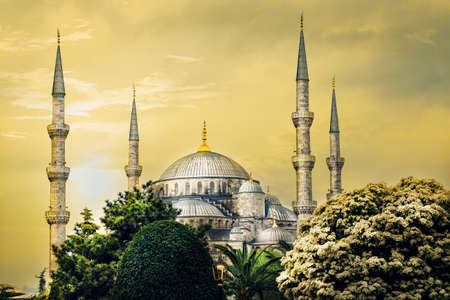 domes: Spiers and domes of Sultanahmet Mosque in tinted yellow. Stock Photo