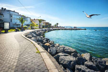 istanbul beach: Embankment on tropical island under blue sky. Princes Islands Stock Photo