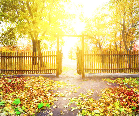 no entrance: Door to wooden fence overlooking park in autumn