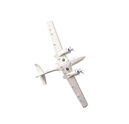 Wit vliegtuig geïsoleerd op een witte achtergrond Stockfoto