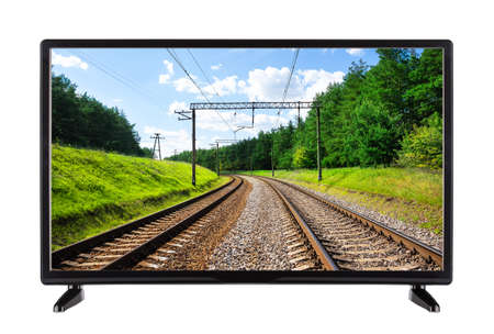 Flat high definition TV with railway on the screen