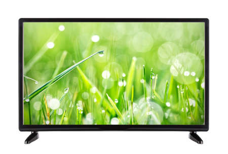 Modern TV with nature landscape Stock Photo