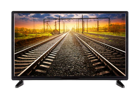 Flat TV with railroad going into the distance on the screen Stock Photo