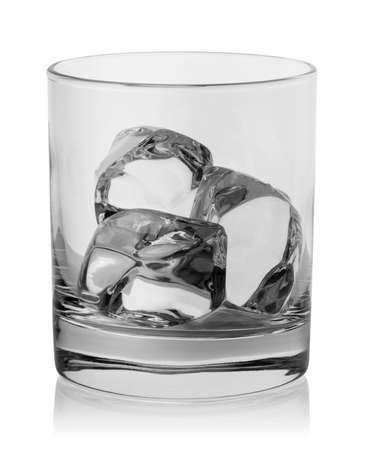Ice cubes in an empty round glass
