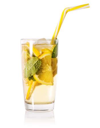 Glass of homemade lemonade with striped straw Imagens - 111396632