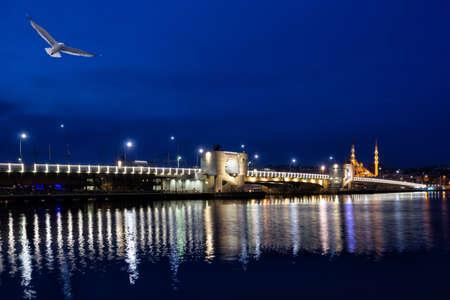 Galata Bridge over the Bosphorus at night