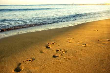 Footprints on the wet sand of the sea shore