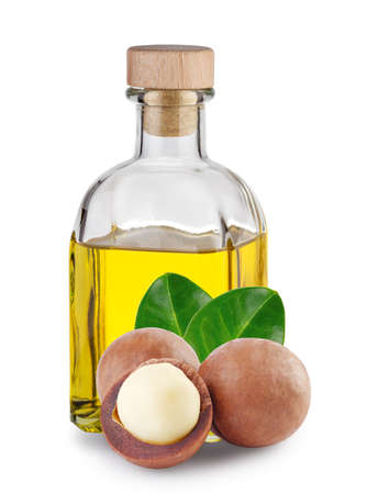 Macadamia oil in square bottle and nuts with leaves