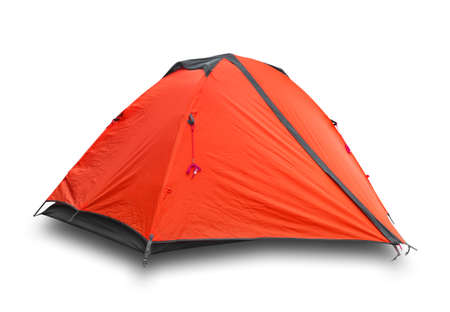 Roter geschlossener Tourist ein Zelt Standard-Bild