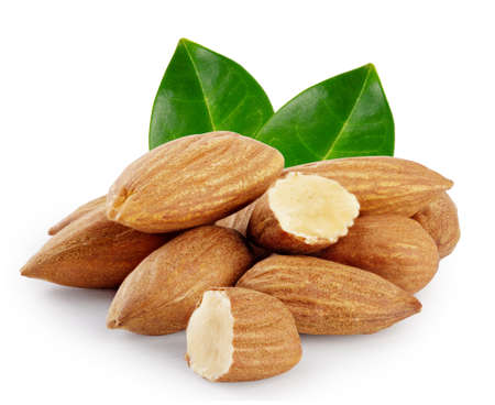 Nuts almond with green leaves