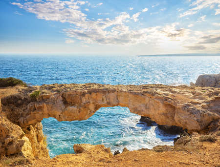 Famous Lovers Bridge or Raven Arch on Cape Cavo Greco