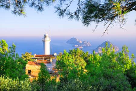 Cape Gelidonia lighthouse in Mediterranean Sea Stockfoto