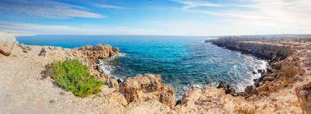 Cove with azure water at Cape Cavo Greco Banco de Imagens