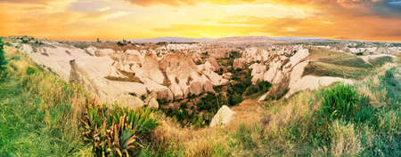 Valley with sandy cliffs in Cappadocia