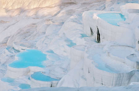 Blue water travertine pools in the Pamukkale