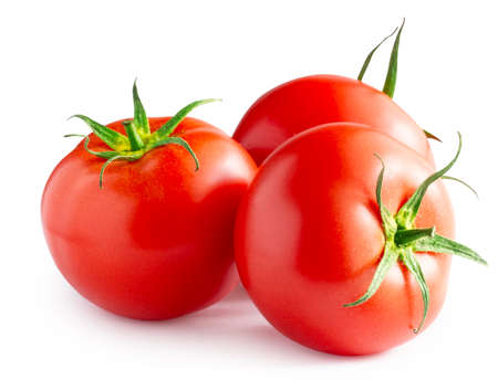 Three ripe red tomatoes isolated on white background Banque d'images