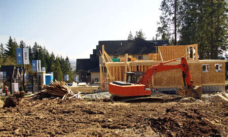 residential construction: construction of a new neighborhood with private houses  excavating the site layout Editorial