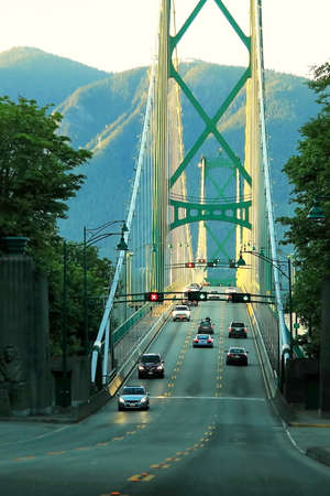 north gate: Lions Gate Bridge in sunset time Stock Photo