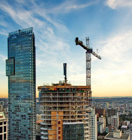 new building: New construction of high-rise building in downtown Stock Photo