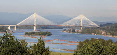 fraser river: Panoramic view of the Fraser River and the mountains Stock Photo
