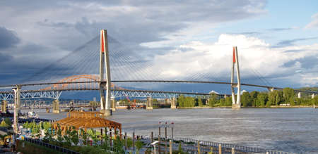 fraser river: Promenade quay  and three bridges over the Fraser River