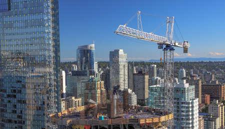 Nieuwe bouw van high-rise gebouw in het centrum Stockfoto