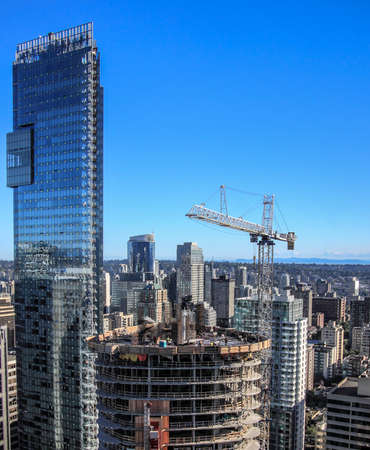 site: New construction of high-rise building in downtown Stock Photo
