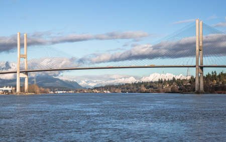 fraser river: Alex Fraser Bridge over the Fraser River between New Westminster and Delta British Columbia, Canada Stock Photo