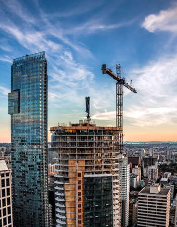 Construction of high-rise buildings Downtown of Vancouver city